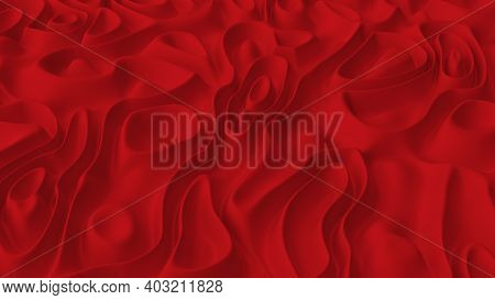 Abstract Minimalistic Background With Red Noise Wave Field. Detailed Displaced Surface. Modern Backg