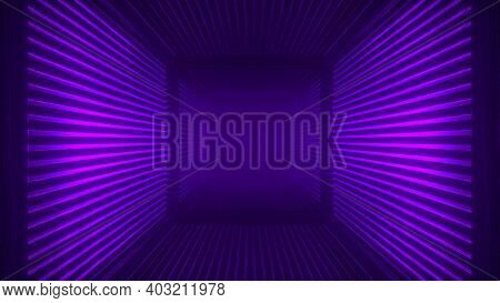 Abstract Purple Futuristic Wooden Tunnel Background With Haze Corridor And Volumetric Light. Glowing