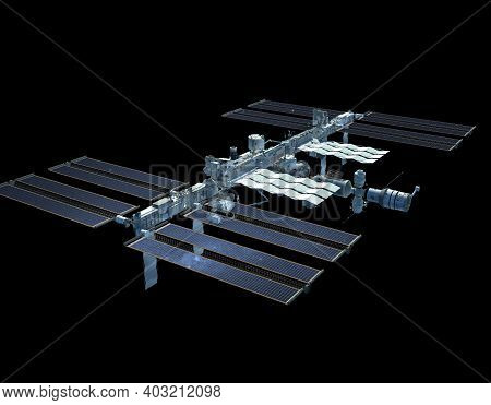 3d Rendering Of The International Space Station With The Isolation Path Included In The File.