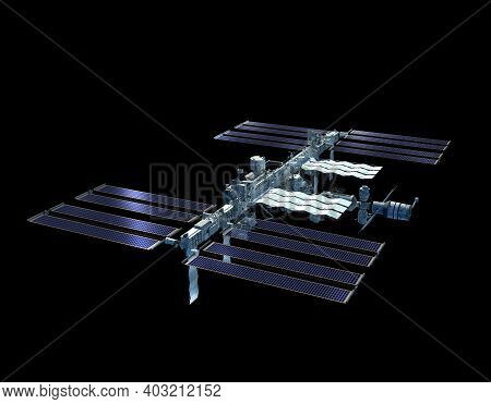 3d Rendering Of The International Space Station With The Work Path Included In The File.
