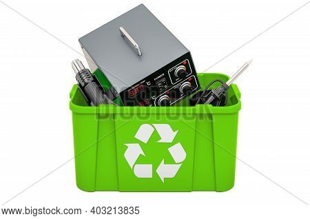 Recycling Trashcan With Soldering Station, 3d Rendering Isolated On White Background