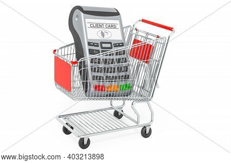 Shopping Cart With Pos Terminal, Card Reader. 3d Rendering Isolated On White Background