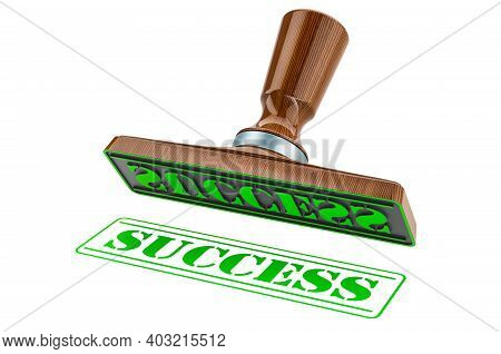Success Stamp. Wooden Stamper, Seal With Text Success, 3d Rendering Isolated On White Background