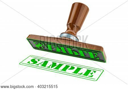 Sample Stamp. Wooden Stamper, Seal With Text Sample, 3d Rendering Isolated On White Background