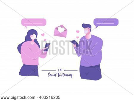 Couple People Using App Smartphone For Loving Messages. Romantic Online Love Chat Happy Valentines D