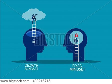 Human Head Think And Ladder, Next Level Improvement Growth Mindset Different Fixed Mindset Concept