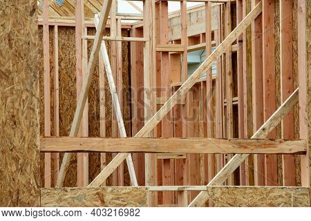 Interior Frame Of New Wooden House Under Construction Plywood
