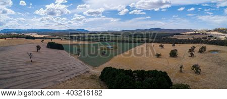 Aerial Panorama Of Agricultural Fields In Chute, Victoria, Australia
