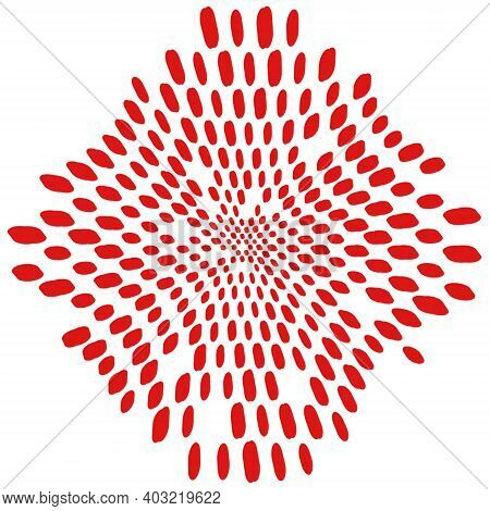 Simply Polka Color Red Overlay Stamp Texture For Your Design. Hand Made. Eps10 Vector.