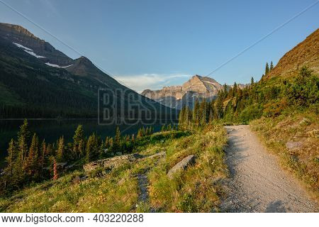 Empty Trail To Grinnell Glacier On Summer Morning
