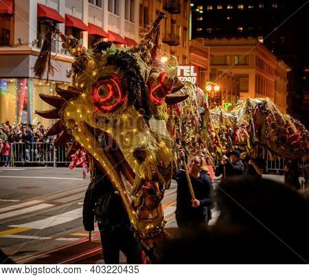San Francisco, United States: February 23, 2019: Elaborate Chinese Dragon With Lights During Annual