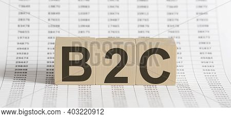 B2c Concept On Wooden Cubes On The Chart Background
