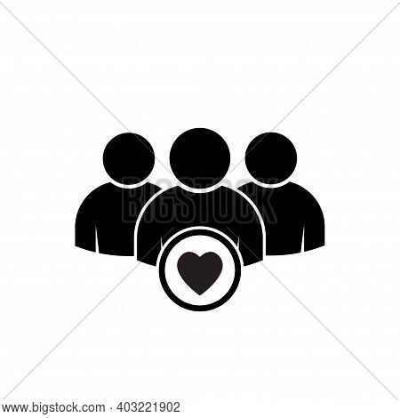 Happy Business Team Icon Vector. Management Business Team Leader Sign. Heart Group Icon. Health Care