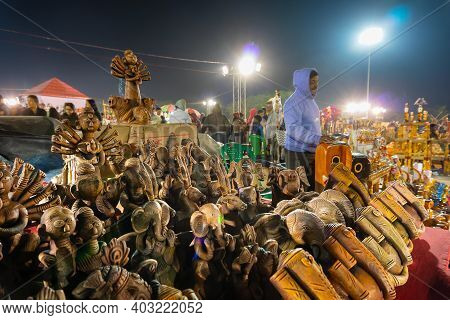 Kolkata, West Bengal, India - 31st December 2018 : Colorful Lord Ganesha And Goddess Durga, Terracot