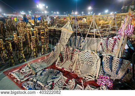 Kolkata, West Bengal, India - 31st December 2018 : Jute Hammocks, Swinging Cots, Swinging Chairs Mad