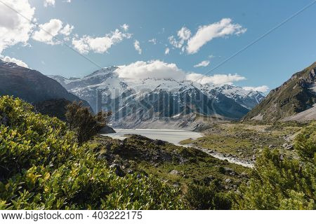 Lake Mueller Lookout In Aoraki, Mount Cook National. New Zealand Travel Destination