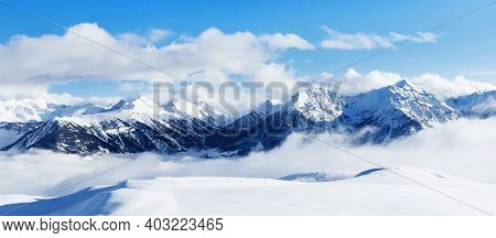 Panoramic View Of Mountains Near Brianson, Serre Chevalier Resort, France. Ski Resort Landscape On C