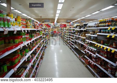 Perth, Australia - March 10, 2020: Aisle In Coles Grocery Market