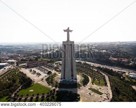 Aerial Panorama Of Christ The King Sanctuary Cristo Rei Statue Catholic Christian Monument In Alamed