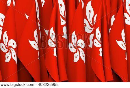 3d Rendering. Folding Hongkong National Flags Row Wall Background.