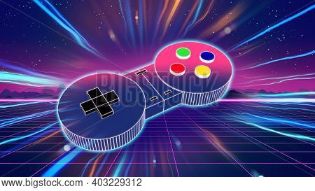 Retro Game Controller On Colorful Background 3d Illustration,e-sport And Online Gaming Concept