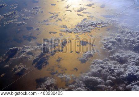 Sun reflection in Mediterranean from airliner. Flight from Kiev to Sharm El Sheikh, Egypt.