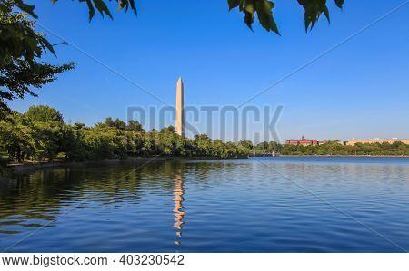 Scenic view of Washington monument in Washington DC.