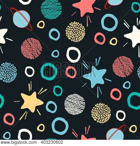 Seamless Pattern. Outer Space Concept. Hand Drawn Vector Illustrations Of Stars And Planets In Carto