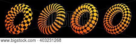 Set Of Four 3d Geometric Striped Rounded Color Shapes. Trendy Illusion Effect. The Donuts. Stylised