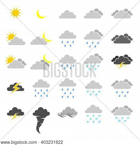 Weather Forecast Icons. Icons Of Various Natural Phenomena And Weather Conditions