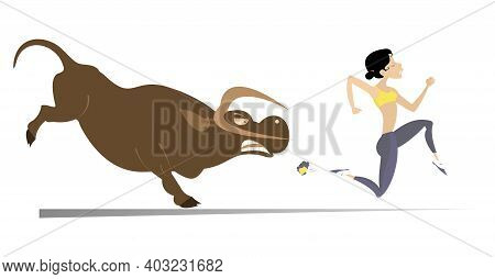 Cartoon Running Woman And Angry Bull Illustration. Frightened Sport Woman Runs Away From The Angry B