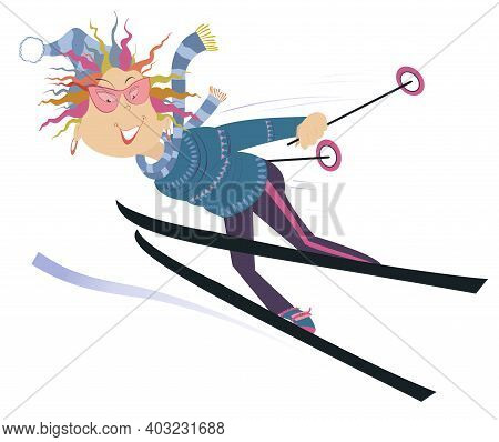 Cartoon Skier Woman Illustration. Smiling Woman A Downhill Skier Isolated On White