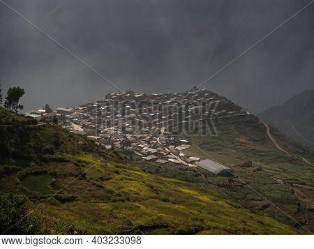 Panorama Of Andean Mountain Village San Pedro De Casta Marcahuasi Andes Plateau Valley Nature Landsc