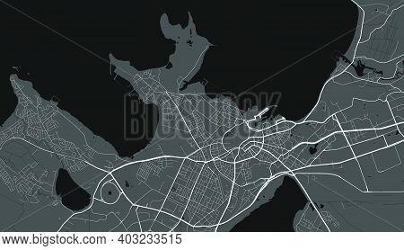 Urban City Map Of Tallinn. Vector Illustration, Tallinn Map Grayscale Art Poster. Street Map Image W