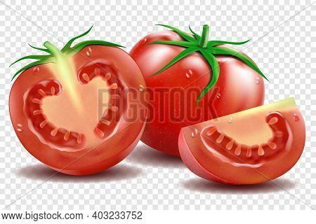 Red Tomato And Half Tomatoes And Slice With Green Leaves Realistic Vector