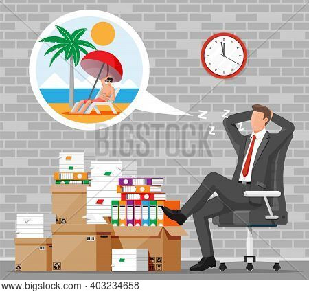 Business Man Character Sleep In Bunch Of Papers. Tired Businessman Or Office Worker Sleeping On Work