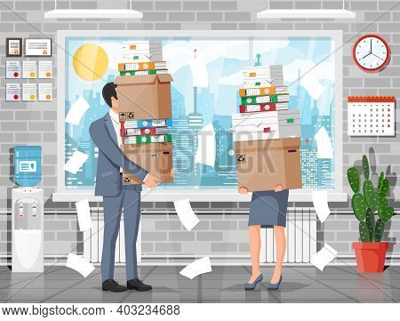 Stressed Businesswoman And Businessman Holds Pile Of Office Documents. Overworked Woman And Man With