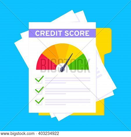 Credit Score Gauge Speedometer Indicator With Color Levels On Paper Sheets And File. Measurement Fro