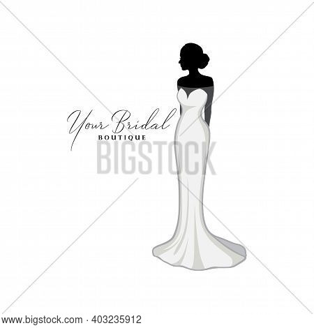 Vintage Wedding Dresses Boutique Logo, Bridesmaid Gown Logo, Bridal Gown Logo Vector Design Template