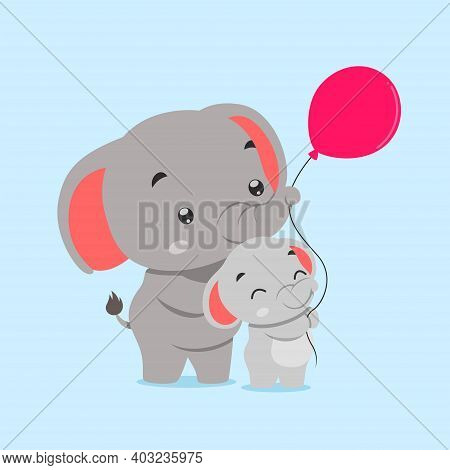 The Elephant And Baby Elephant Playing Together With The Red Balloon