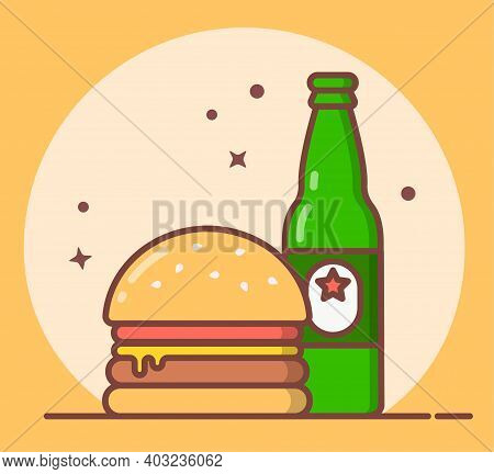 Beer And Burger Icon, Bottle, Poster, Bar, Menu, Party, Postcard, Invitation, Patrick's Day, Oktober