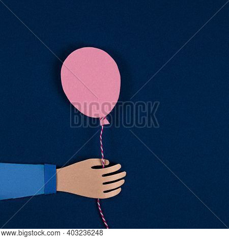 Hand Holding A Pink Paper Balloons. Balloons Party Invitation Card. Celebrate Events Banner Posters.
