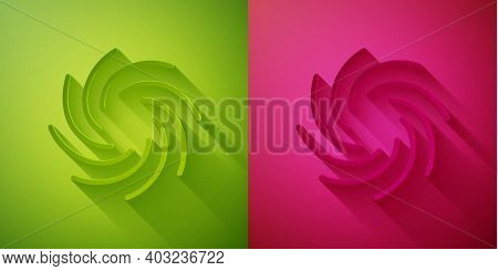 Paper Cut Tornado Icon Isolated On Green And Pink Background. Cyclone, Whirlwind, Storm Funnel, Hurr