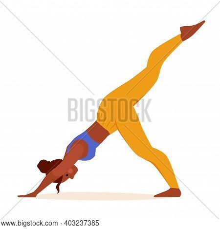 Vector Illustration Of A Woman In A Suit Practicing Yoga Stretching And Bending Her Spine. Vector Ca