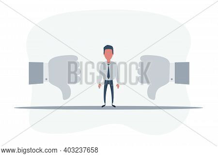 Business People Showing Thumbs Down. Thinking Sad Businessman. Dislike Sign, Thumb Down. Vector Flat