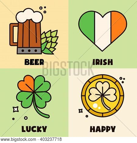 Saint Patrick's Day Sticker Pack. Gift Card, Design For Celebrities With Beer, Leprechaun Gold, Iris