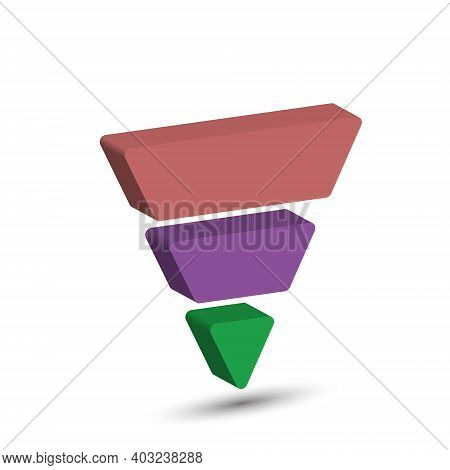 3-part Lead Generation Template. Marketing Pyramid Or Sales Conversion Cone. Infographics, Three-dim