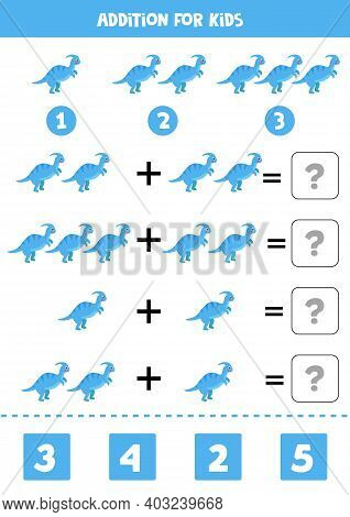 Addition Game With Cute Blue Parasaurolophus. Math Game For Kids.