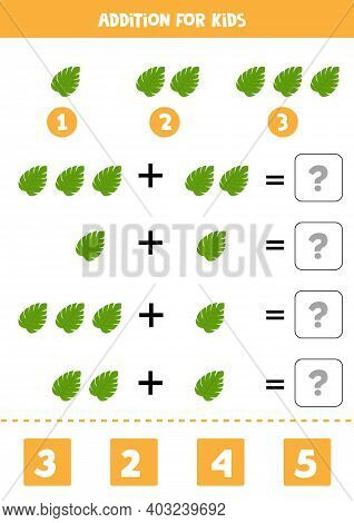Addition Game With Cartoon Tropical Leaf. Math Game For Kids.
