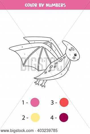 Color Cartoon Flying Dinosaur Pterodactyl By Numbers. Counting Game.